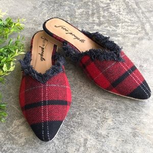 NWT free People plaid flannel wool mules 37